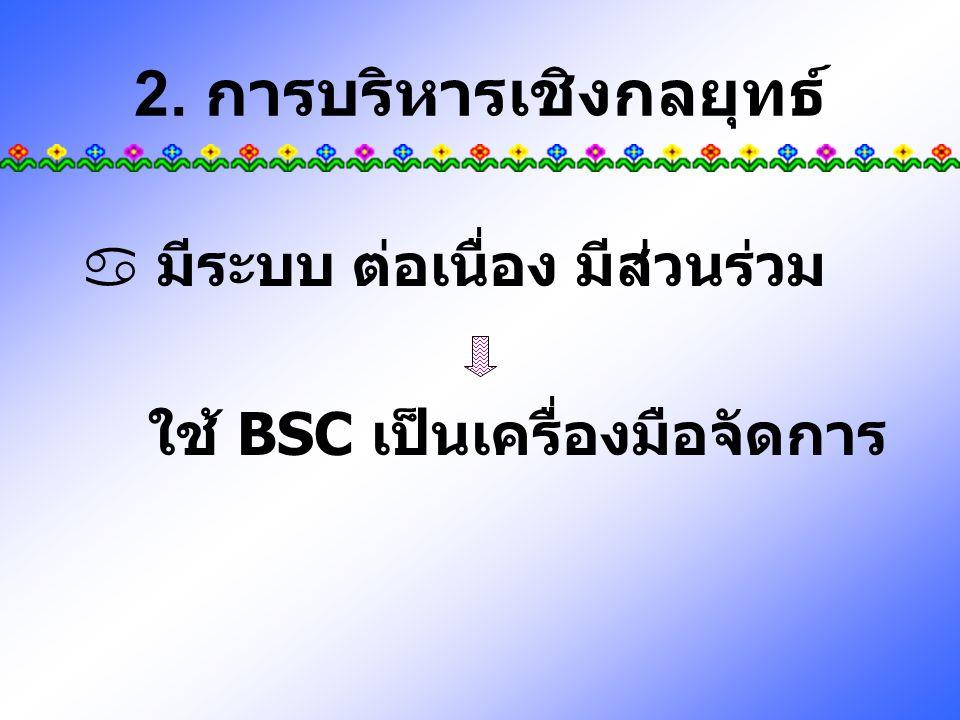 2. การบริหารเชิงกลยุทธ์  มีระบบ ต่อเนื่อง มีส่วนร่วม ใช้ BSC เป็นเครื่องมือจัดการ