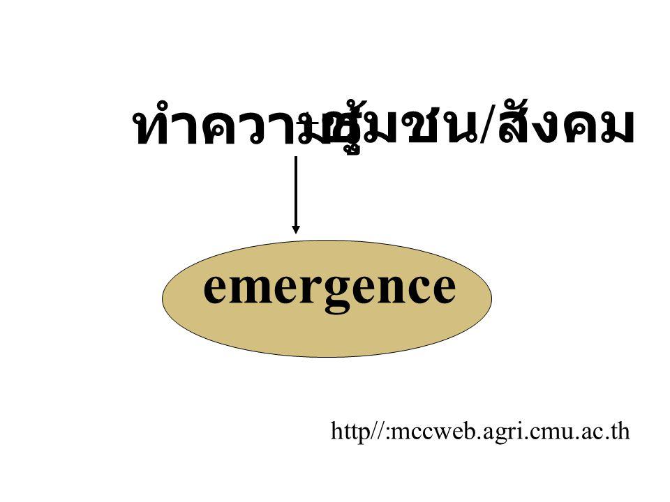 ทำความรู้ชุมชน / สังคม emergence http//:mccweb.agri.cmu.ac.th