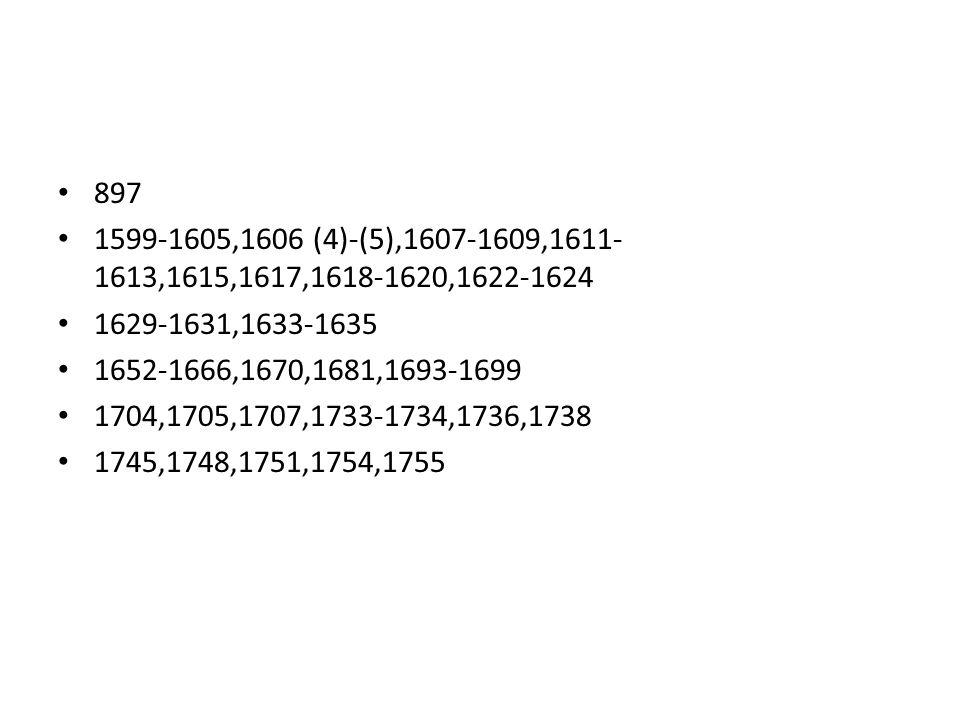 897 1599-1605,1606 (4)-(5),1607-1609,1611- 1613,1615,1617,1618-1620,1622-1624 1629-1631,1633-1635 1652-1666,1670,1681,1693-1699 1704,1705,1707,1733-17