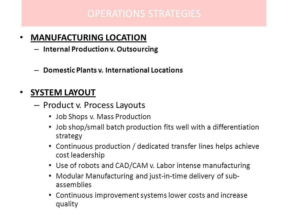 OPERATIONS STRATEGIES MANUFACTURING LOCATION – Internal Production v. Outsourcing – Domestic Plants v. International Locations SYSTEM LAYOUT – Product