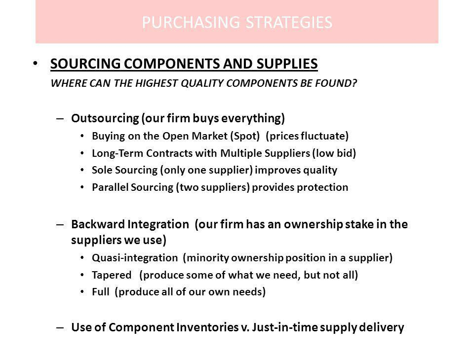 PURCHASING STRATEGIES SOURCING COMPONENTS AND SUPPLIES WHERE CAN THE HIGHEST QUALITY COMPONENTS BE FOUND? – Outsourcing (our firm buys everything) Buy