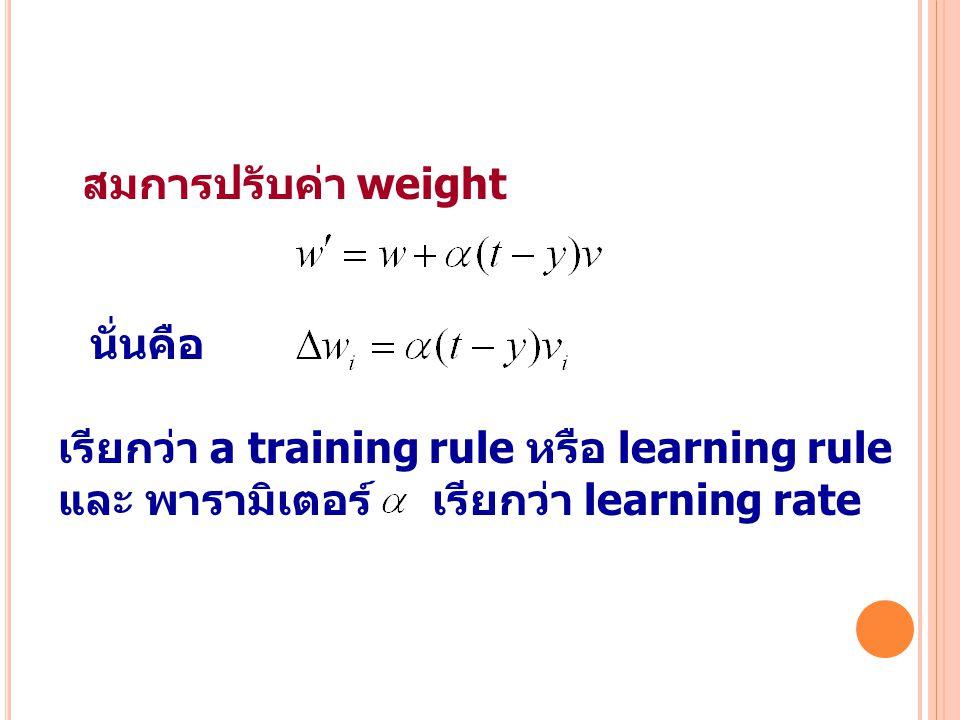 44 สมการปรับค่า weight นั่นคือ เรียกว่า a training rule หรือ learning rule และ พารามิเตอร์ เรียกว่า learning rate