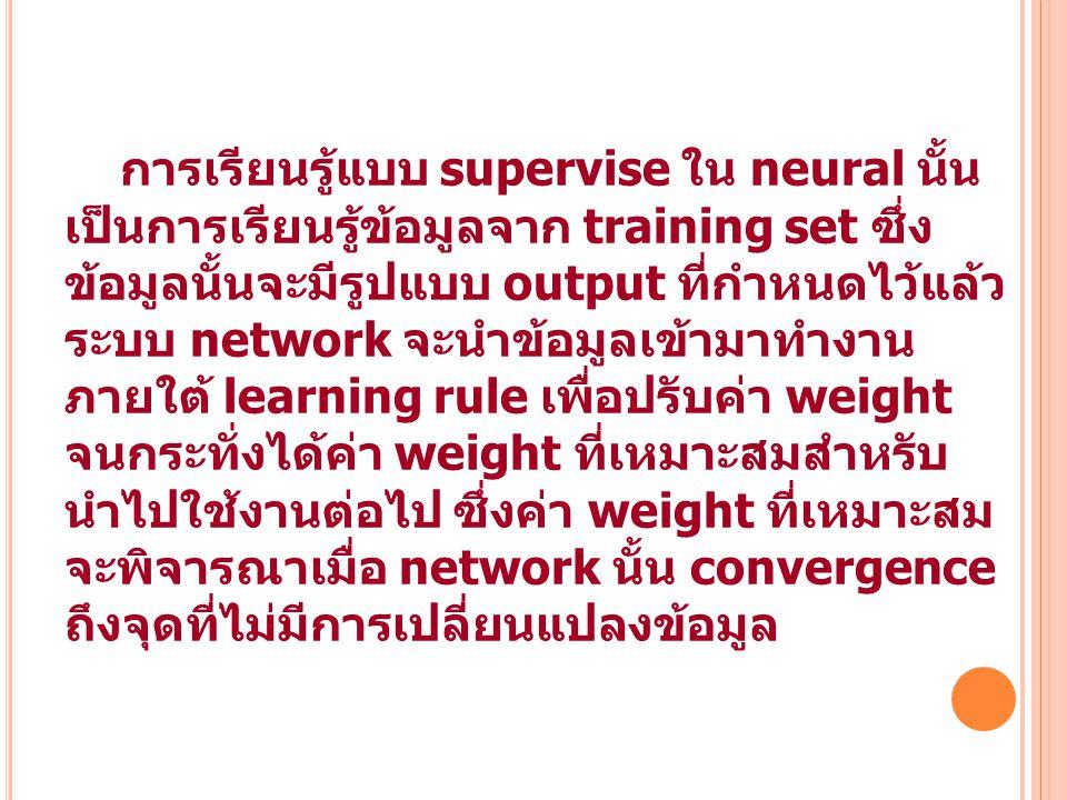 45 การเรียนรู้แบบ supervise ใน neural นั้น เป็นการเรียนรู้ข้อมูลจาก training set ซึ่ง ข้อมูลนั้นจะมีรูปแบบ output ที่กำหนดไว้แล้ว ระบบ network จะนำข้อ