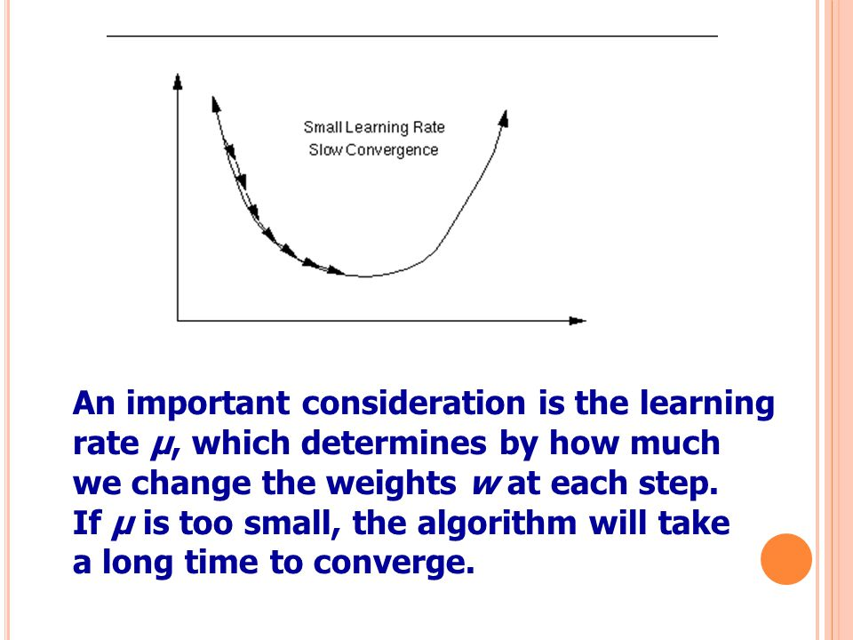 54 An important consideration is the learning rate µ, which determines by how much we change the weights w at each step. If µ is too small, the algori