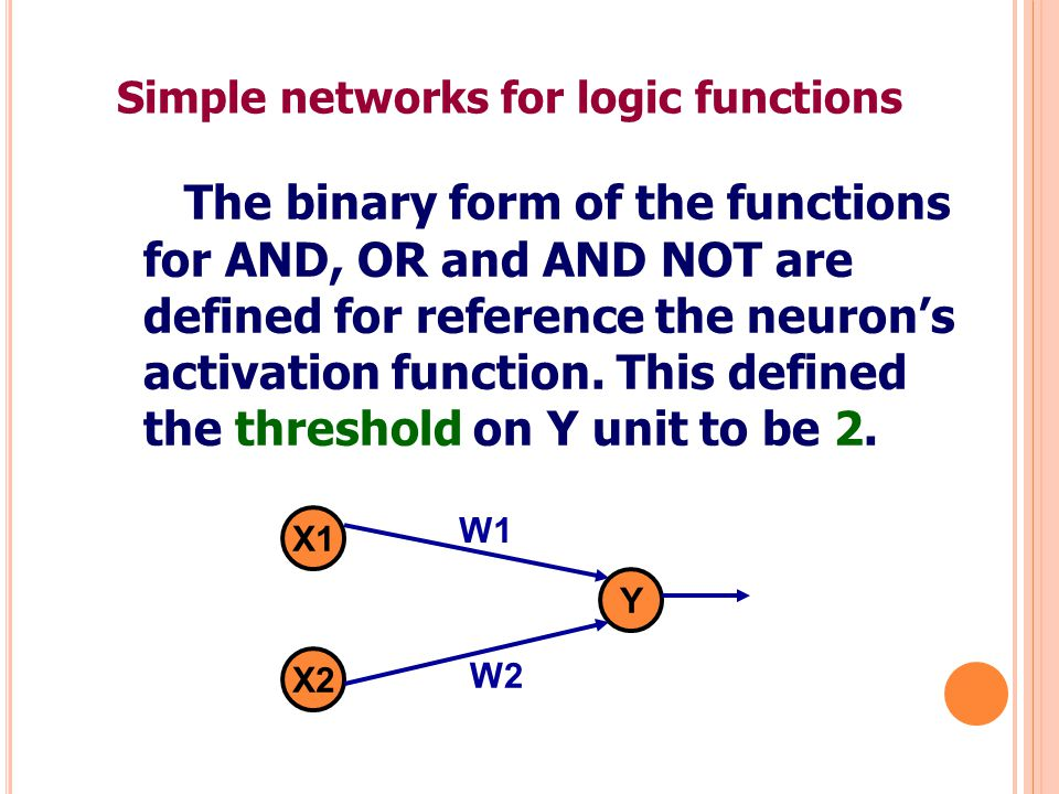 Single Layer with a Binary Step Function Consider a network with 2 inputs and 1 output node (2 classes).