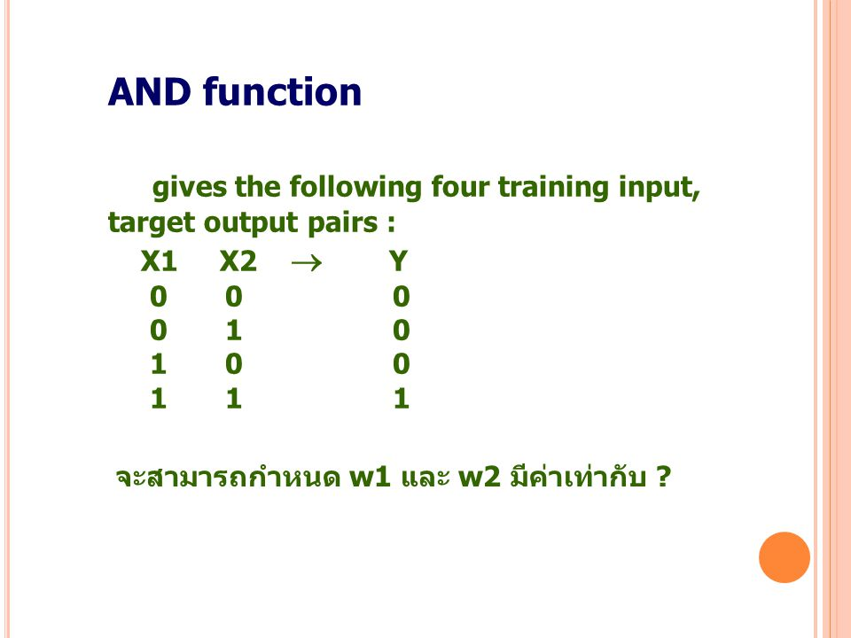 8 AND function gives the following four training input, target output pairs : X1 X2  Y 0 0 0 0 1 0 1 0 0 1 1 1 จะสามารถกำหนด w1 และ w2 มีค่าเท่ากับ ?
