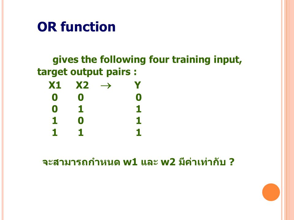 9 OR function gives the following four training input, target output pairs : X1 X2  Y 0 0 0 0 1 1 1 0 1 1 1 1 จะสามารถกำหนด w1 และ w2 มีค่าเท่ากับ ?