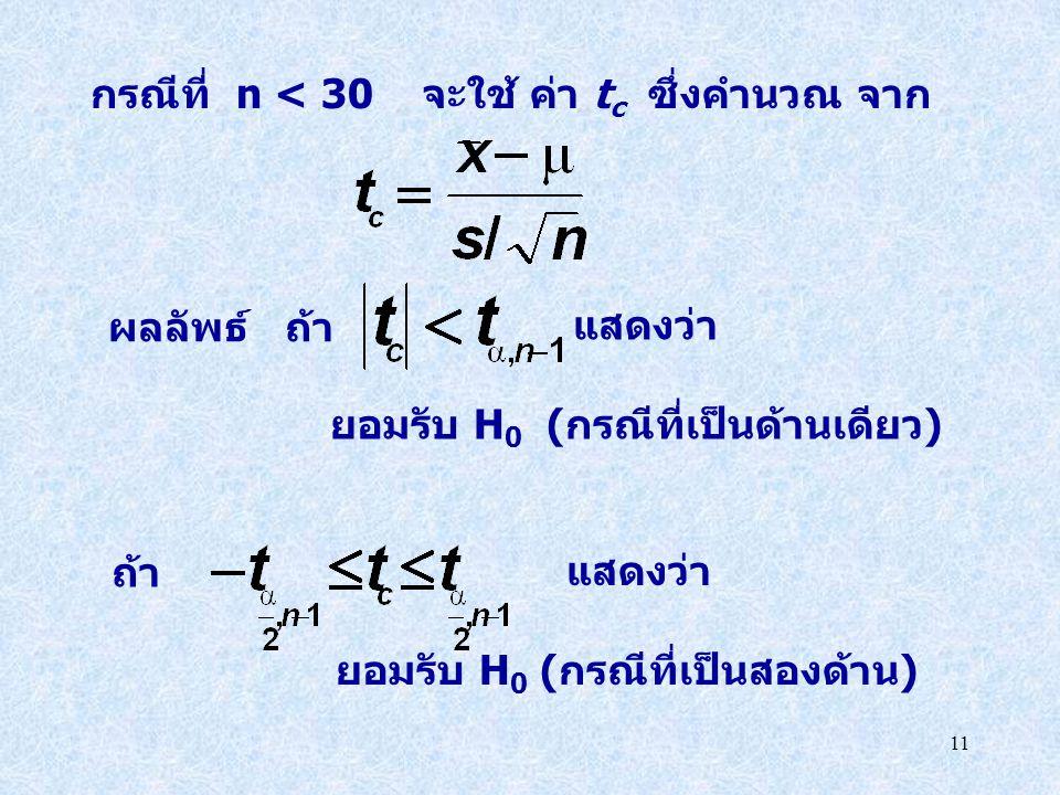 11 แสดงว่า ยอมรับ H 0 (กรณีที่เป็นสองด้าน) แสดงว่า ยอมรับ H 0 (กรณีที่เป็นด้านเดียว) ถ้า กรณีที่ n < 30 จะใช้ ค่า t c ซึ่งคำนวณ จาก ผลลัพธ์ ถ้า