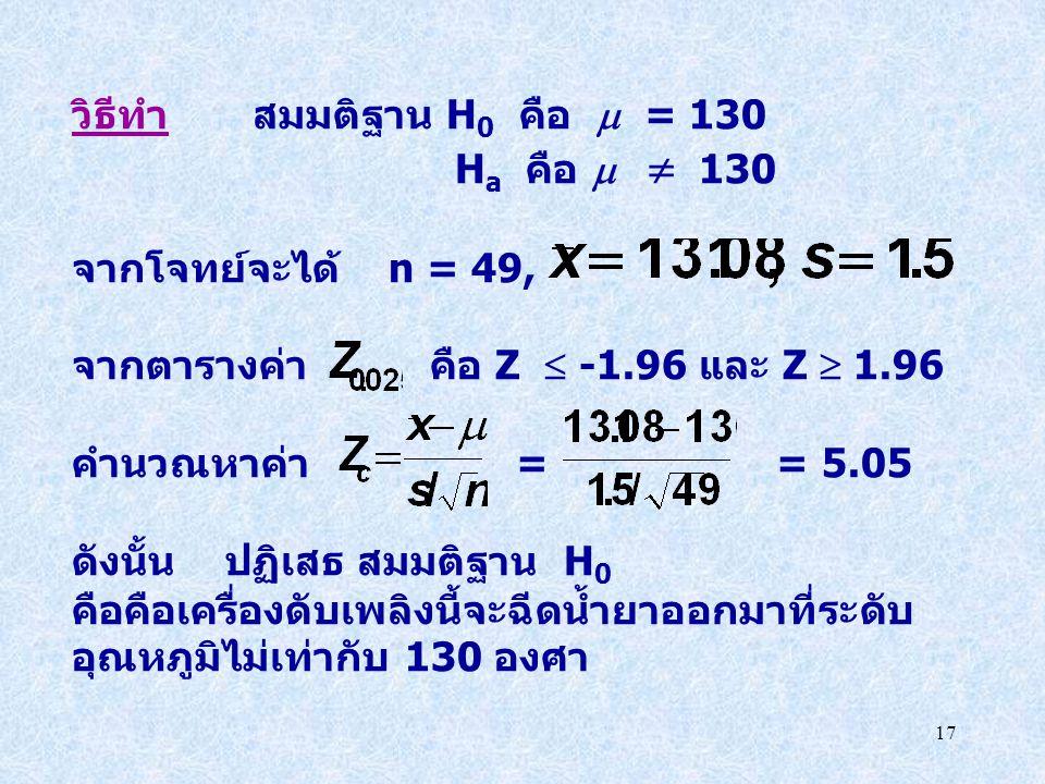 17 วิธีทำ สมมติฐาน H 0 คือ  = 130 H a คือ   130 จากโจทย์จะได้ n = 49, จากตารางค่า คือ Z  -1.96 และ Z  1.96 คำนวณหาค่า = = 5.05 ดังนั้น ปฏิเสธ สมม