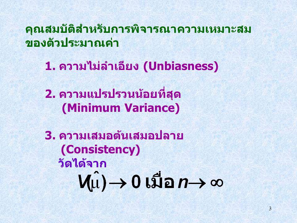 3 คุณสมบัติสำหรับการพิจารณาความเหมาะสม ของตัวประมาณค่า 1. ความไม่ลำเอียง (Unbiasness) 2. ความแปรปรวนน้อยที่สุด (Minimum Variance) 3. ความเสมอต้นเสมอปล