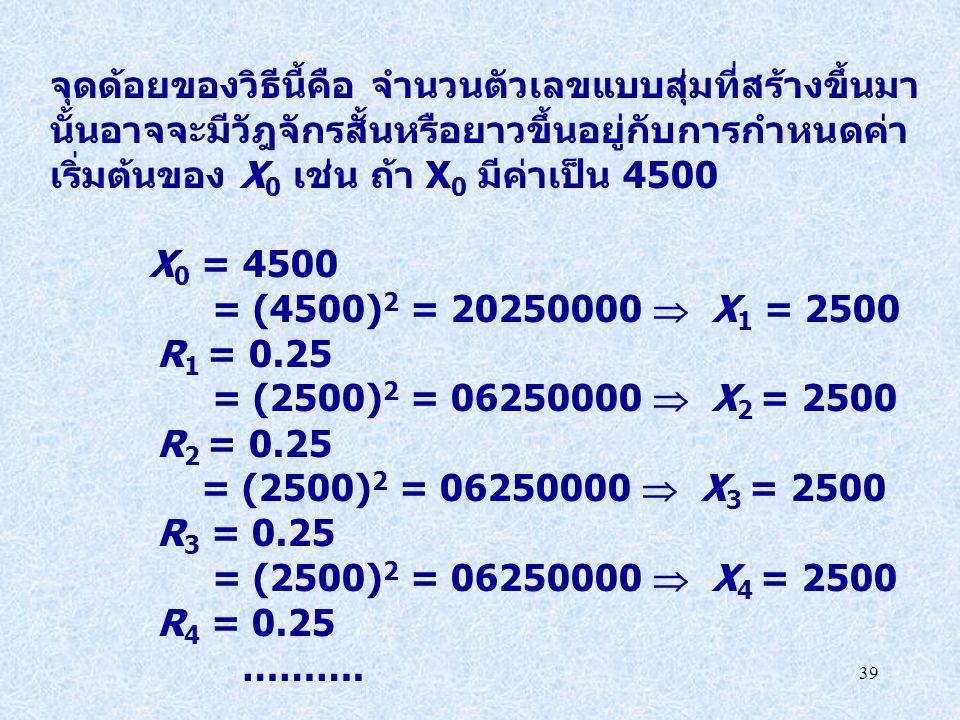 39 จุดด้อยของวิธีนี้คือ จำนวนตัวเลขแบบสุ่มที่สร้างขึ้นมา นั้นอาจจะมีวัฎจักรสั้นหรือยาวขึ้นอยู่กับการกำหนดค่า เริ่มต้นของ X 0 เช่น ถ้า X 0 มีค่าเป็น 45