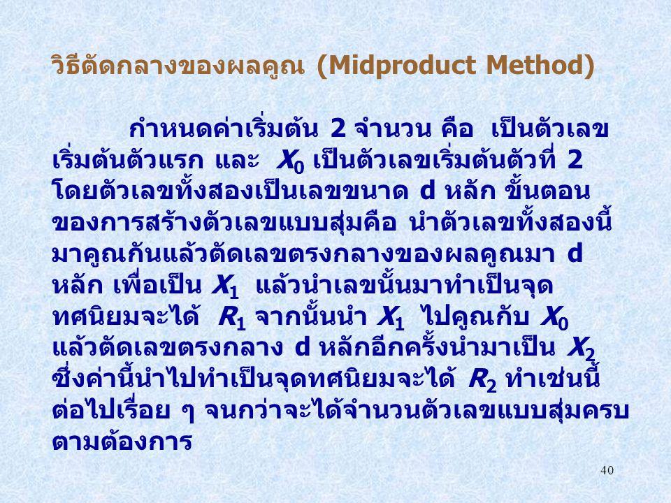 40 วิธีตัดกลางของผลคูณ (Midproduct Method) กำหนดค่าเริ่มต้น 2 จำนวน คือ เป็นตัวเลข เริ่มต้นตัวแรก และ X 0 เป็นตัวเลขเริ่มต้นตัวที่ 2 โดยตัวเลขทั้งสองเ