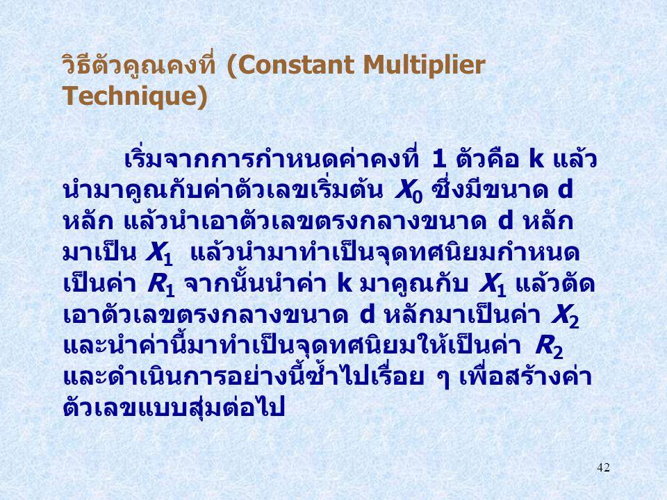 42 วิธีตัวคูณคงที่ (Constant Multiplier Technique) เริ่มจากการกำหนดค่าคงที่ 1 ตัวคือ k แล้ว นำมาคูณกับค่าตัวเลขเริ่มต้น X 0 ซึ่งมีขนาด d หลัก แล้วนำเอ