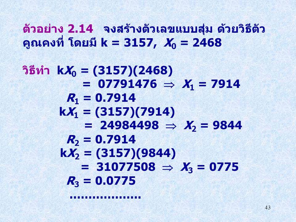 43 ตัวอย่าง 2.14 จงสร้างตัวเลขแบบสุ่ม ด้วยวิธีตัว คูณคงที่ โดยมี k = 3157, X 0 = 2468 วิธีทำ kX 0 = (3157)(2468) = 07791476  X 1 = 7914 R 1 = 0.7914