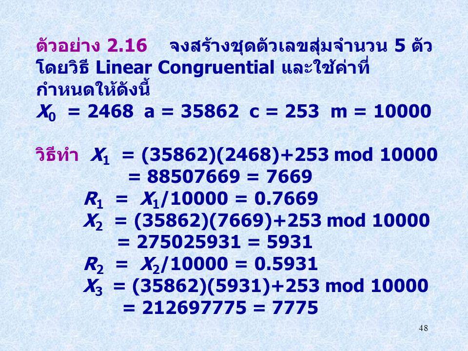 48 ตัวอย่าง 2.16 จงสร้างชุดตัวเลขสุ่มจำนวน 5 ตัว โดยวิธี Linear Congruential และใช้ค่าที่ กำหนดให้ดังนี้ X 0 = 2468 a = 35862 c = 253 m = 10000 วิธีทำ