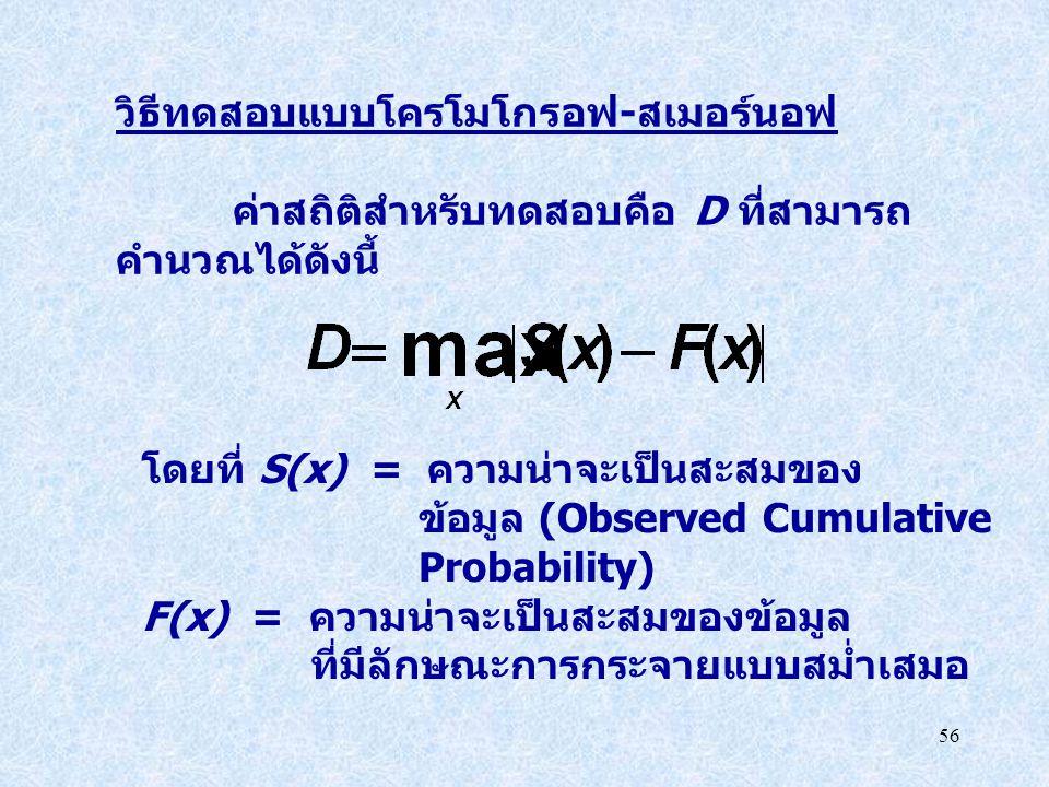 56 วิธีทดสอบแบบโครโมโกรอฟ - สเมอร์นอฟ ค่าสถิติสำหรับทดสอบคือ D ที่สามารถ คำนวณได้ดังนี้ โดยที่ S(x) = ความน่าจะเป็นสะสมของ ข้อมูล (Observed Cumulative