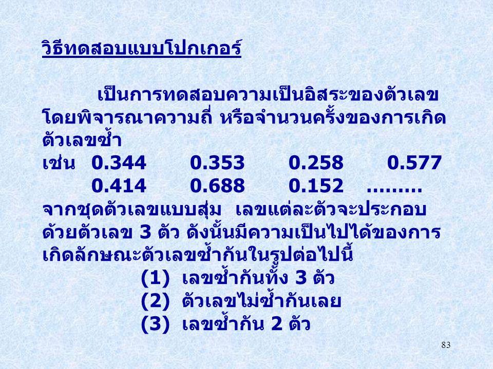83 วิธีทดสอบแบบโปกเกอร์ เป็นการทดสอบความเป็นอิสระของตัวเลข โดยพิจารณาความถี่ หรือจำนวนครั้งของการเกิด ตัวเลขซ้ำ เช่น 0.344 0.353 0.2580.577 0.4140.688