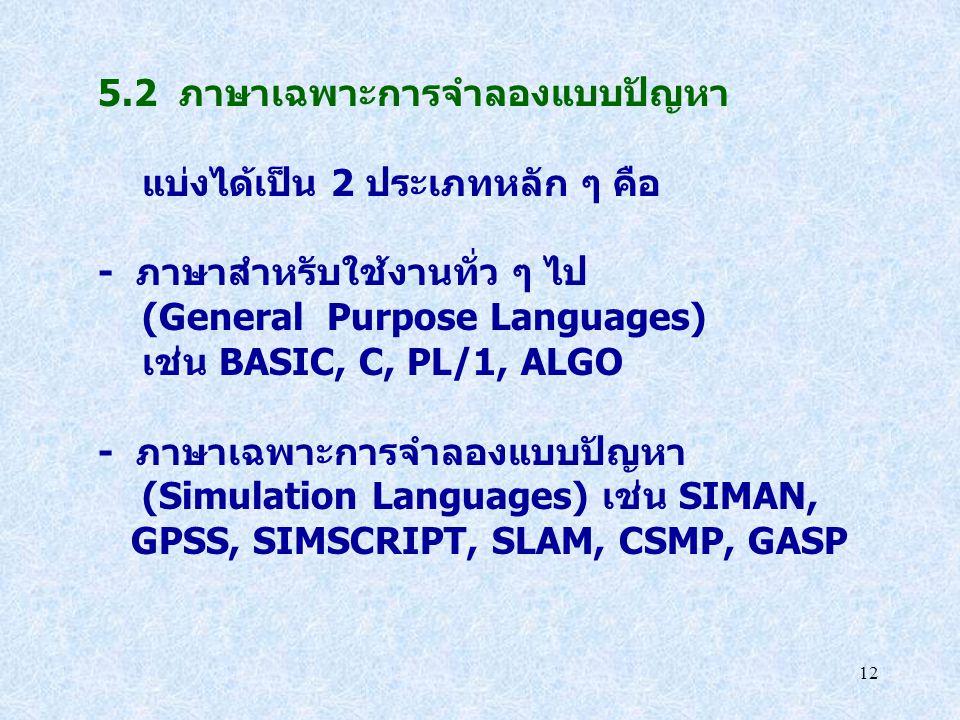 12 5.2 ภาษาเฉพาะการจำลองแบบปัญหา แบ่งได้เป็น 2 ประเภทหลัก ๆ คือ - ภาษาสำหรับใช้งานทั่ว ๆ ไป (General Purpose Languages) เช่น BASIC, C, PL/1, ALGO - ภา