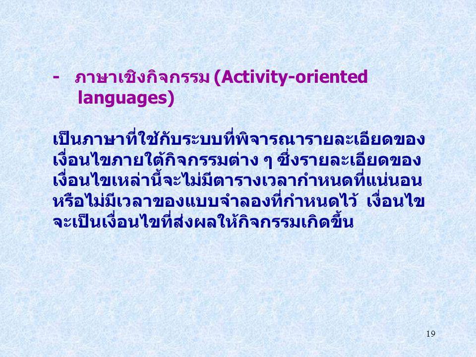 19 - ภาษาเชิงกิจกรรม (Activity-oriented languages) เป็นภาษาที่ใช้กับระบบที่พิจารณารายละเอียดของ เงื่อนไขภายใต้กิจกรรมต่าง ๆ ซึ่งรายละเอียดของ เงื่อนไข