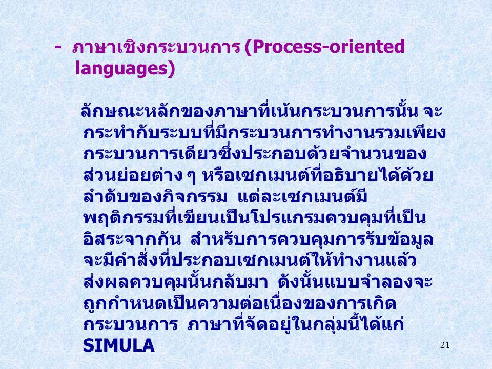 21 - ภาษาเชิงกระบวนการ (Process-oriented languages) ลักษณะหลักของภาษาที่เน้นกระบวนการนั้น จะ กระทำกับระบบที่มีกระบวนการทำงานรวมเพียง กระบวนการเดียวซึ่