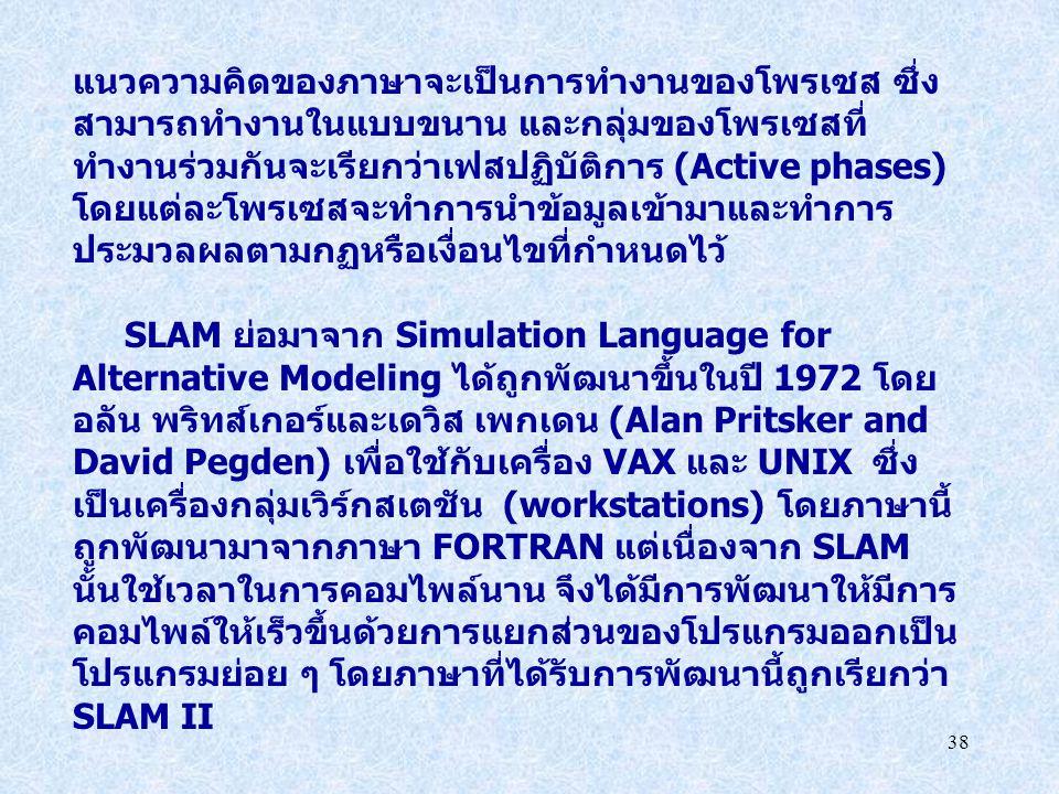 38 แนวความคิดของภาษาจะเป็นการทำงานของโพรเซส ซึ่ง สามารถทำงานในแบบขนาน และกลุ่มของโพรเซสที่ ทำงานร่วมกันจะเรียกว่าเฟสปฏิบัติการ (Active phases) โดยแต่ล