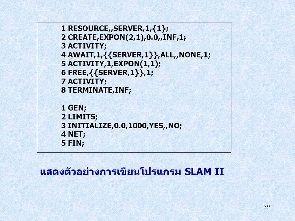 39 1 RESOURCE,,SERVER,1,{1}; 2 CREATE,EXPON(2,1),0.0,,INF,1; 3 ACTIVITY; 4 AWAIT,1,{{SERVER,1}},ALL,,NONE,1; 5 ACTIVITY,1,EXPON(1,1); 6 FREE,{{SERVER,