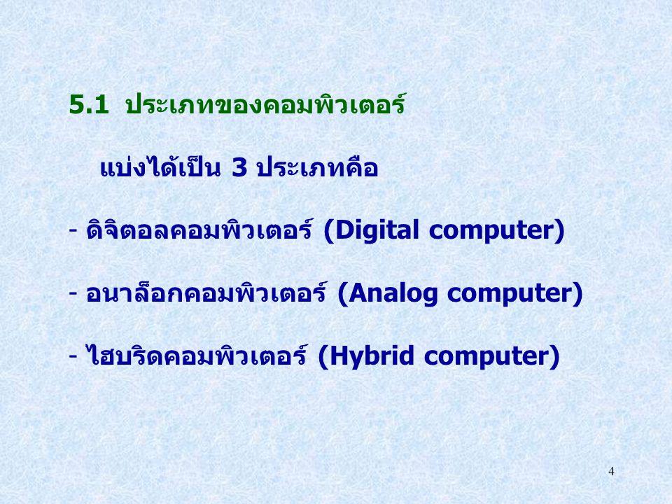 4 5.1 ประเภทของคอมพิวเตอร์ แบ่งได้เป็น 3 ประเภทคือ - ดิจิตอลคอมพิวเตอร์ (Digital computer) - อนาล็อกคอมพิวเตอร์ (Analog computer) - ไฮบริดคอมพิวเตอร์