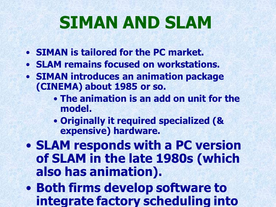 SIMAN AND SLAM SIMAN is tailored for the PC market. SLAM remains focused on workstations. SIMAN introduces an animation package (CINEMA) about 1985 or