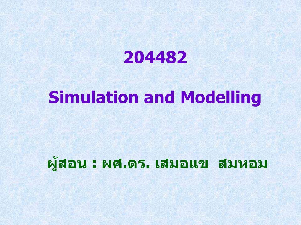 204482 Simulation and Modelling ผู้สอน : ผศ.ดร. เสมอแข สมหอม