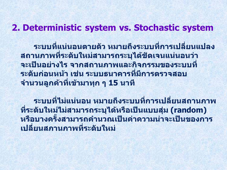 2. Deterministic system vs. Stochastic system ระบบที่แน่นอนตายตัว หมายถึงระบบที่การเปลี่ยนแปลง สถานภาพที่ระดับใหม่สามารถระบุได้ชัดเจนแน่นอนว่า จะเป็นอ