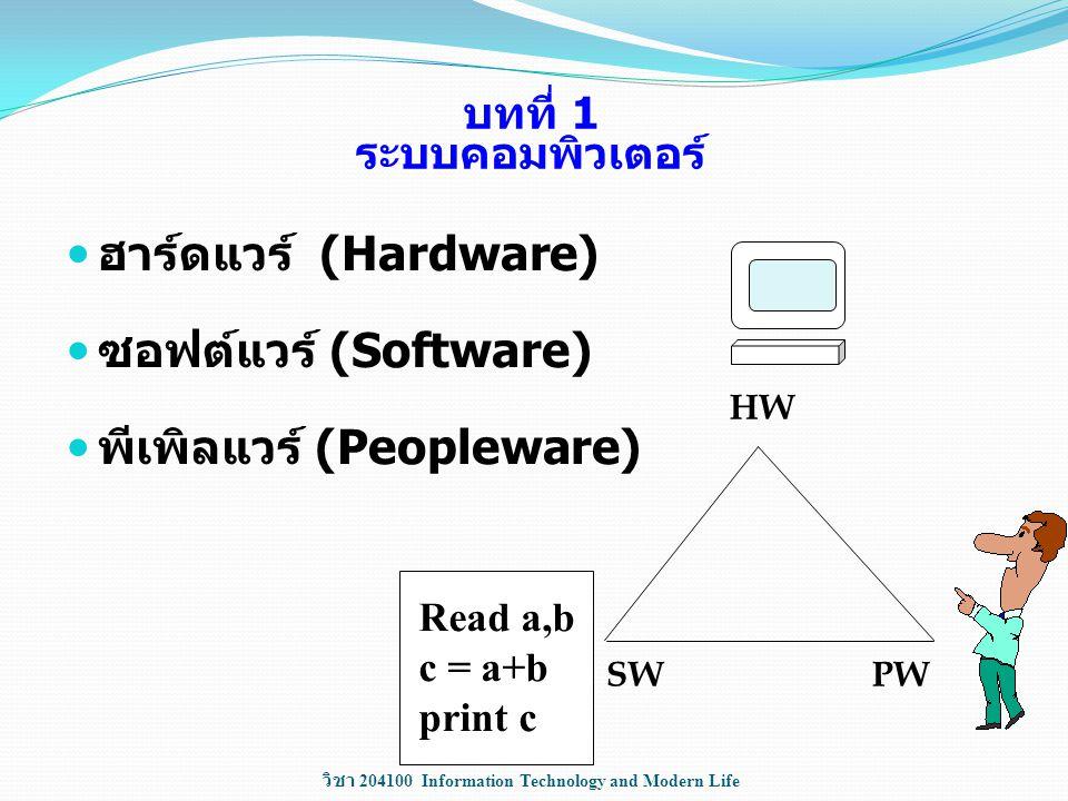 บทที่ 1 ระบบคอมพิวเตอร์ ฮาร์ดแวร์ (Hardware) ซอฟต์แวร์ (Software) พีเพิลแวร์ (Peopleware) HW SW PW Read a,b c = a+b print c