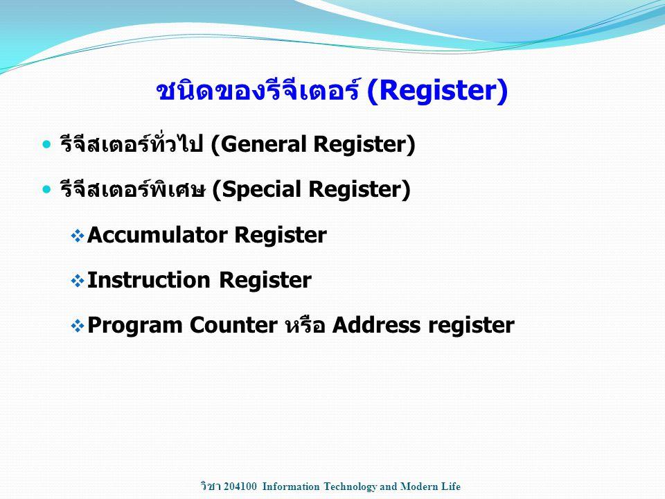 วิชา 204100 Information Technology and Modern Life ชนิดของรีจีเตอร์ (Register) รีจีสเตอร์ทั่วไป (General Register) รีจีสเตอร์พิเศษ (Special Register)