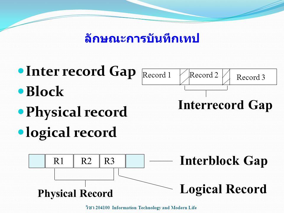 วิชา 204100 Information Technology and Modern Life ลักษณะการบันทึกเทป Inter record Gap Block Physical record logical record Record 1Record 2 Record 3