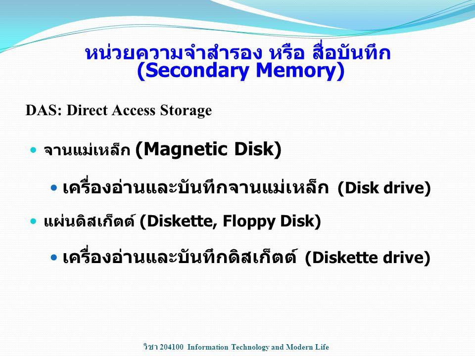 วิชา 204100 Information Technology and Modern Life หน่วยความจำสำรอง หรือ สื่อบันทึก (Secondary Memory) จานแม่เหล็ก (Magnetic Disk) เครื่องอ่านและบันทึ