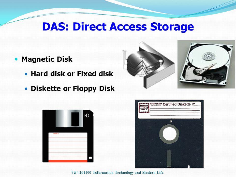 วิชา 204100 Information Technology and Modern Life DAS: Direct Access Storage Magnetic Disk Hard disk or Fixed disk Diskette or Floppy Disk