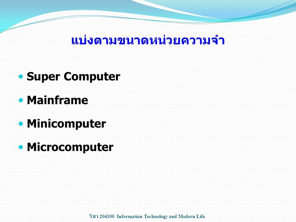 วิชา 204100 Information Technology and Modern Life แบ่งตามขนาดหน่วยความจำ Super Computer Mainframe Minicomputer Microcomputer