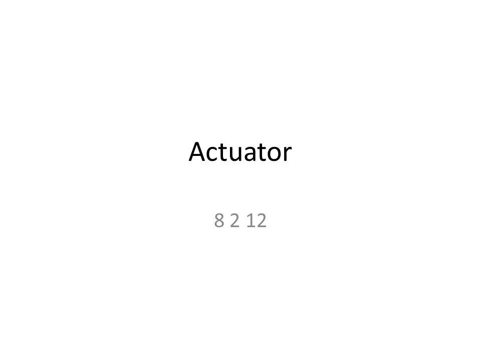 Actuator เป็นอุปกรณ์ที่ใช้ไฟฟ้าไปควบคุมการทำงาน เชิงกล ซึ่งจะเกี่ยวข้องกับอุปกรณ์หลายชนิด เช่น – Solenoid – Motor – Relay – SCR – TRIAC – Heating coil – Etc.