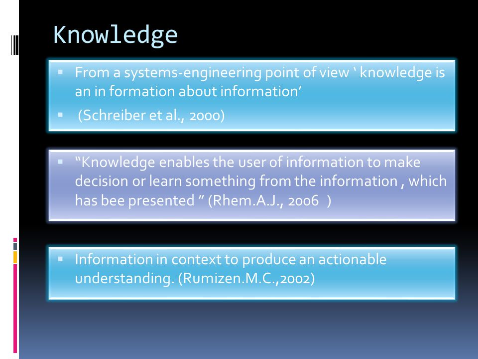 "Knowledge  ""Knowledge enables the user of information to make decision or learn something from the information, which has bee presented "" (Rhem.A.J.,"