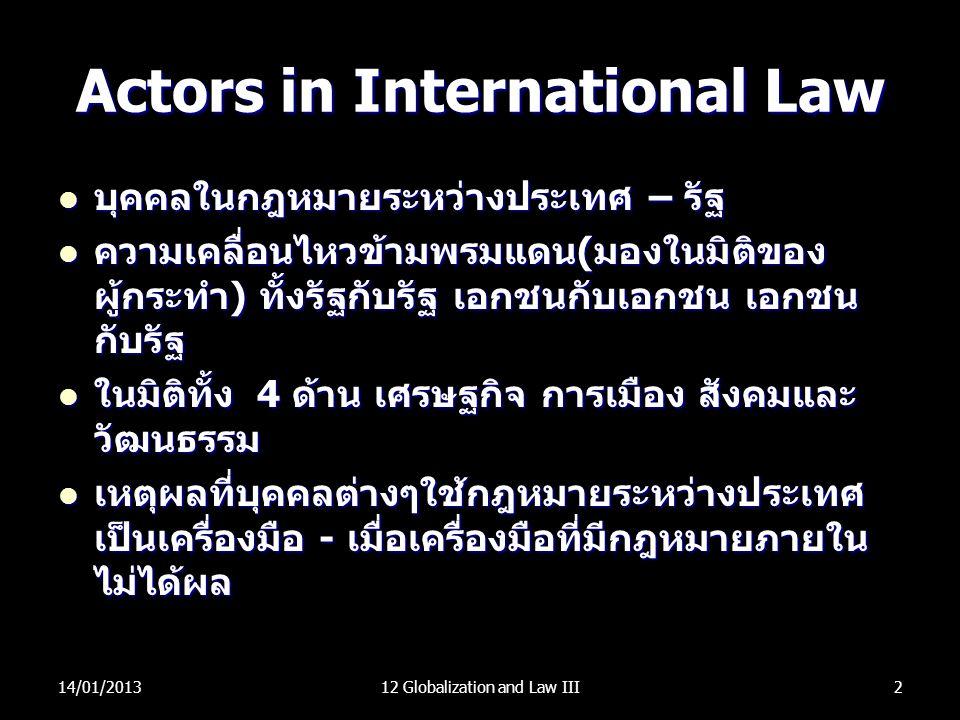 Actors in International Law บุคคลในกฎหมายระหว่างประเทศ – รัฐ บุคคลในกฎหมายระหว่างประเทศ – รัฐ ความเคลื่อนไหวข้ามพรมแดน(มองในมิติของ ผู้กระทำ) ทั้งรัฐก