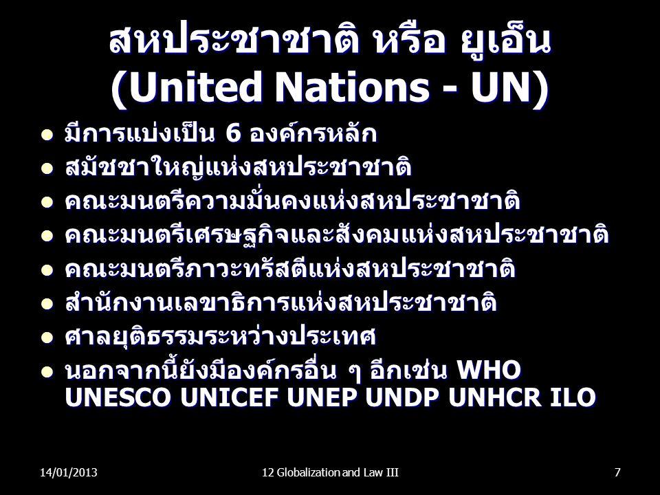 สหประชาชาติ หรือ ยูเอ็น (United Nations - UN) มีการแบ่งเป็น 6 องค์กรหลัก มีการแบ่งเป็น 6 องค์กรหลัก สมัชชาใหญ่แห่งสหประชาชาติ สมัชชาใหญ่แห่งสหประชาชาต