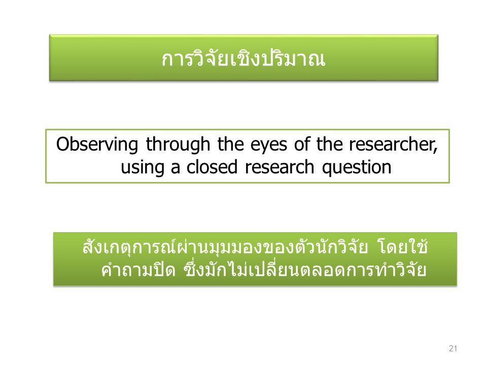การวิจัยเชิงปริมาณ Observing through the eyes of the researcher, using a closed research question สังเกตุการณ์ผ่านมุมมองของตัวนักวิจัย โดยใช้ คำถามปิด