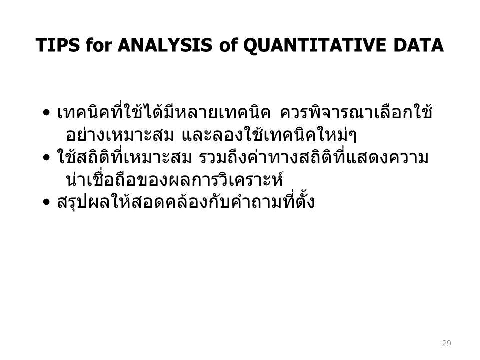 TIPS for ANALYSIS of QUANTITATIVE DATA เทคนิคที่ใช้ได้มีหลายเทคนิค ควรพิจารณาเลือกใช้ อย่างเหมาะสม และลองใช้เทคนิคใหม่ๆ ใช้สถิติที่เหมาะสม รวมถึงค่าทา
