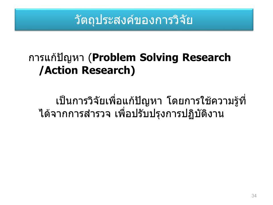 การแก้ปัญหา (Problem Solving Research /Action Research) เป็นการวิจัยเพื่อแก้ปัญหา โดยการใช้ความรู้ที่ ได้จากการสำรวจ เพื่อปรับปรุงการปฏิบัติงาน วัตถุป