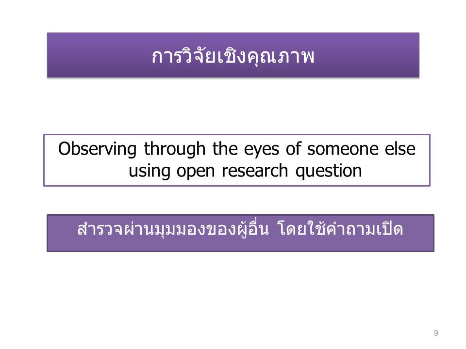การวิจัยเชิงคุณภาพ Observing through the eyes of someone else using open research question สำรวจผ่านมุมมองของผู้อื่น โดยใช้คำถามเปิด 9