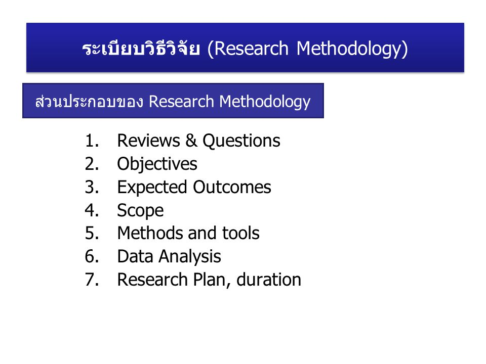 ส่วนประกอบของ Research Methodology 1.Reviews & Questions 2.Objectives 3.Expected Outcomes 4.Scope 5.Methods and tools 6.Data Analysis 7.Research Plan, duration ระเบียบวิธีวิจัย (Research Methodology)