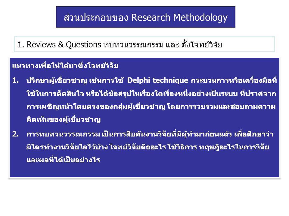 1. Reviews & Questions ทบทวนวรรณกรรม และ ตั้งโจทย์วิจัย แนวทางเพื่อให้ได้มาซึ่งโจทย์วิจัย 1.ปรึกษาผู้เชี่ยวชาญ เช่นการใช้ Delphi technique กระบวนการหร