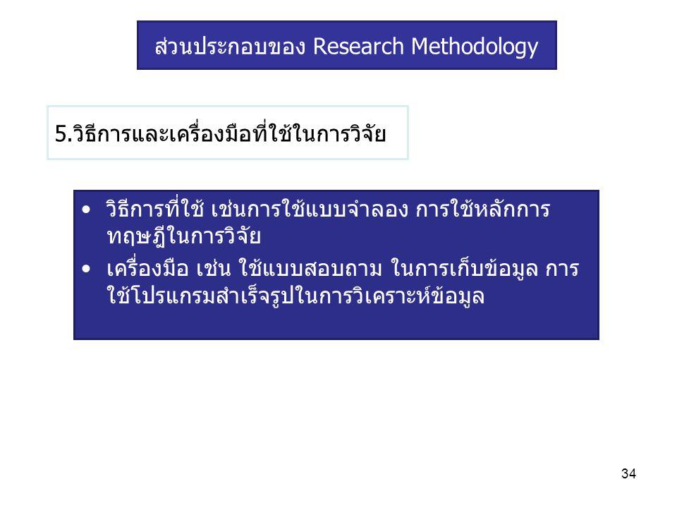 34 5.วิธีการและเครื่องมือที่ใช้ในการวิจัย วิธีการที่ใช้ เช่นการใช้แบบจำลอง การใช้หลักการ ทฤษฎีในการวิจัย เครื่องมือ เช่น ใช้แบบสอบถาม ในการเก็บข้อมูล