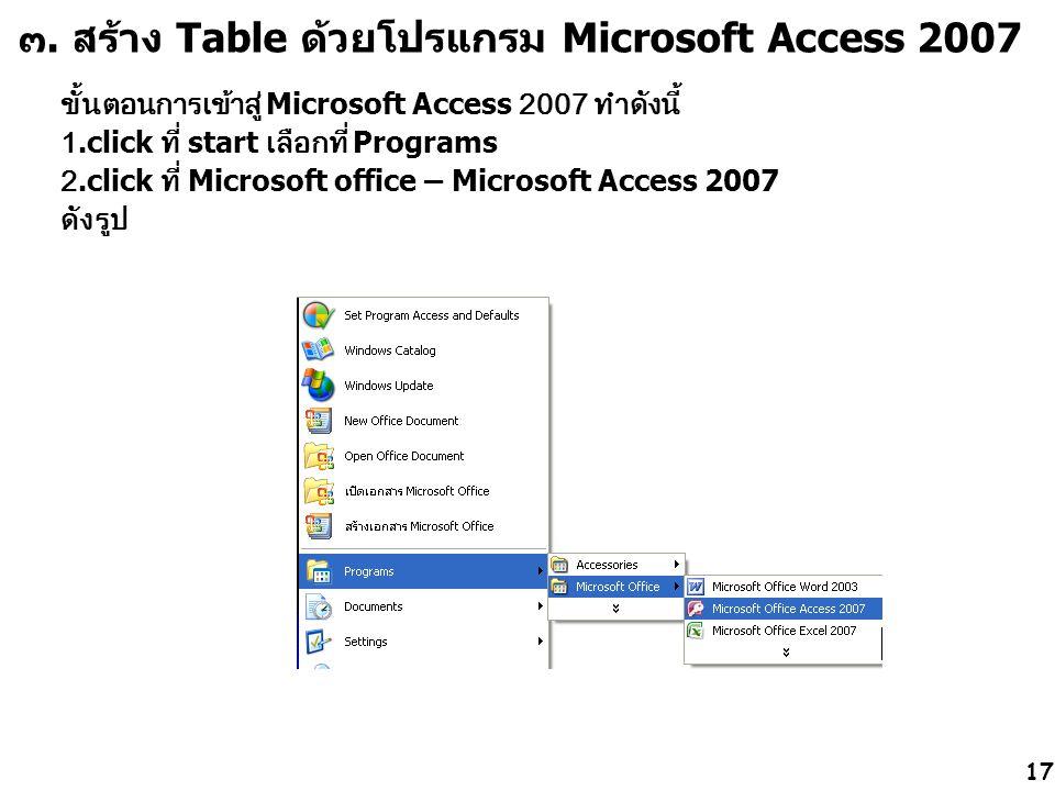 ๓. สร้าง Table ด้วยโปรแกรม Microsoft Access 2007 ขั้นตอนการเข้าสู่ Microsoft Access 2007 ทำดังนี้ 1.click ที่ start เลือกที่ Programs 2.click ที่ Micr