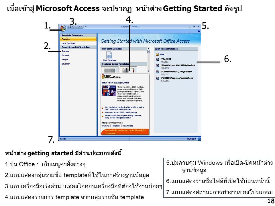 6. หน้าต่าง getting started มีส่วนประกอบดังนี้ 1.ปุ่ม Office : เก็บเมนูคำสั่งต่างๆ 2.แถบแสดงกลุ่มรายชื่อ templateที่ใช้ในกาสร้างฐานข้อมูล 3.แถบเครื่อง