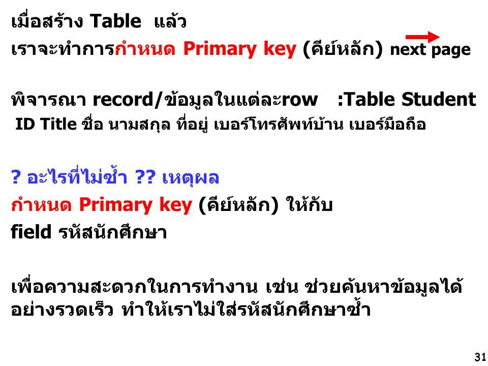 31 เมื่อสร้าง Table แล้ว เราจะทำการกำหนด Primary key (คีย์หลัก) next page พิจารณา record/ข้อมูลในแต่ละrow :Table Student ID Title ชื่อ นามสกุล ที่อยู่ เบอร์โทรศัพท์บ้าน เบอร์มือถือ .